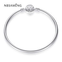 2017 New Authentic 100 925 Sterling Silver Original Bowknot Moments Silver Bangle Fit Pan Women Basic