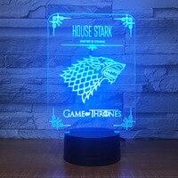 House Stark, Игра престолов волк акриловый Иллюзия 3D светодиодный светильник 7 цветов Изменение USB Touch настольная лампа детский день рождения под...