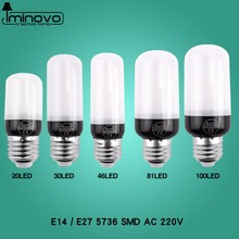 LED Light E27 Lamp E14 LED Bulb Corn 20 30 46 81 100 LEDs Lampada SMD5730 220V Corn Bulb Chandelier Candle Spotlight Home Decor
