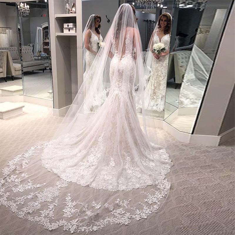 Doragrace vestido de noiva Vintage Illusion Back Lace Wedding Gowns Mermaid Wedding Dresses in Wedding Dresses from Weddings Events