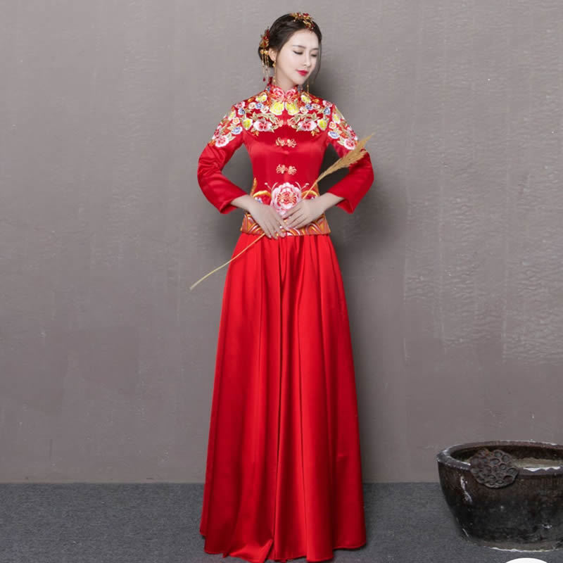 Red Chinese Wedding Dress Modern Qipao Traditional Dress
