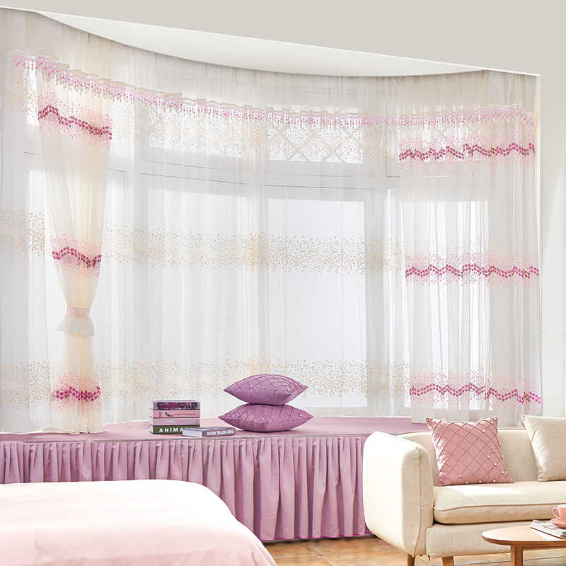 Embroidery Flowers Lace Curtains For Living Room Bedroom Sheer Kitchen Curtain Window Treatment Screen Pink White Tulle S244&30