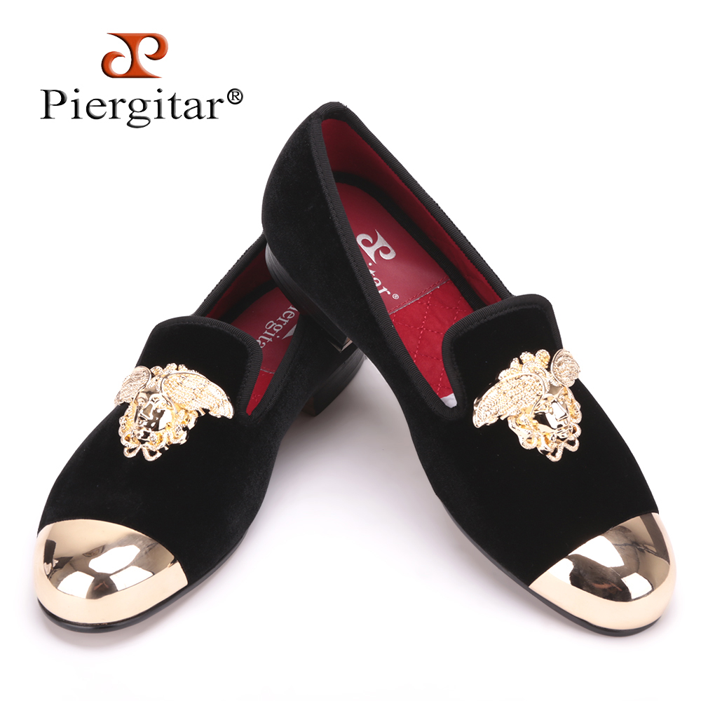 Fashion Handmade Medusa Top and Metal Toe Men Velvet Dress shoes Men Luxurious Prom and Banquet Loafers Plus Size Men's Flats handmade red suede men shoes with gold rhinestone and gold toe metal party and banquet men dress loafers male s flats