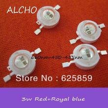10 шт. 3 Вт Высокая мощность смешанные цвета завод растет LED красный 660nm синий 455nm чип