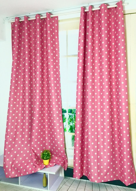 New dots shade cloth curtains pink color with white dots curtains ...