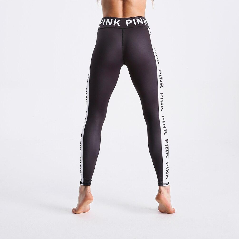 дешево!  2019 женская мода черные и белые буквы печати леггинсы шить лоскутное брюки высокой талией тонкие
