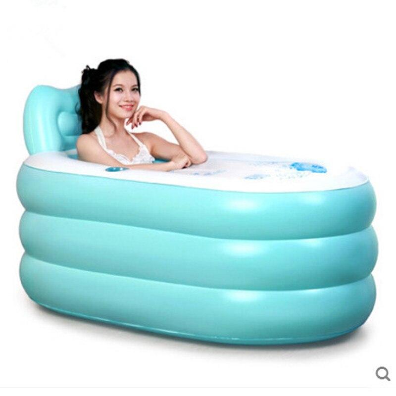 Inflatable bath tub bath barrel fold thickening in adults Plastic bucket shower bath barrel