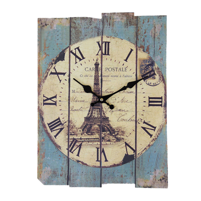 Reida Density Board Wall Clock Vintage European Style Roman Numeral Design Silent Rectangle Clock Living Room Decor