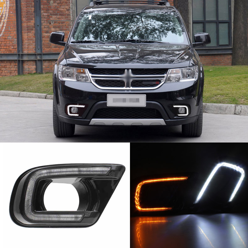 Ownsun Brand New Updated LED Daytime Running Lights DRL With Black Fog Light Cover For Dodge Journey 2013-2015 цена и фото