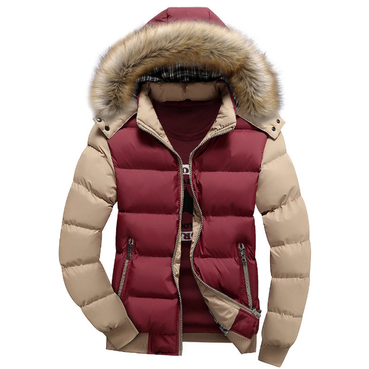 New 2016 Winter Cotton Coat Men Thickness Wadded Jacket Fur Collar Hoodies Slim Patchwork Parkas Casual