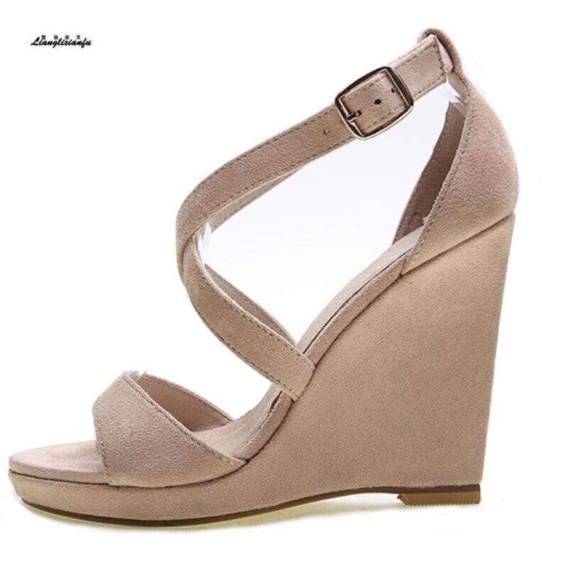 Sandales style doux femme à sangle croisée sandales princesse robe chaussure 10 cm compensées zapato mujer sexy dames pompes de fête taille: 36-39 40