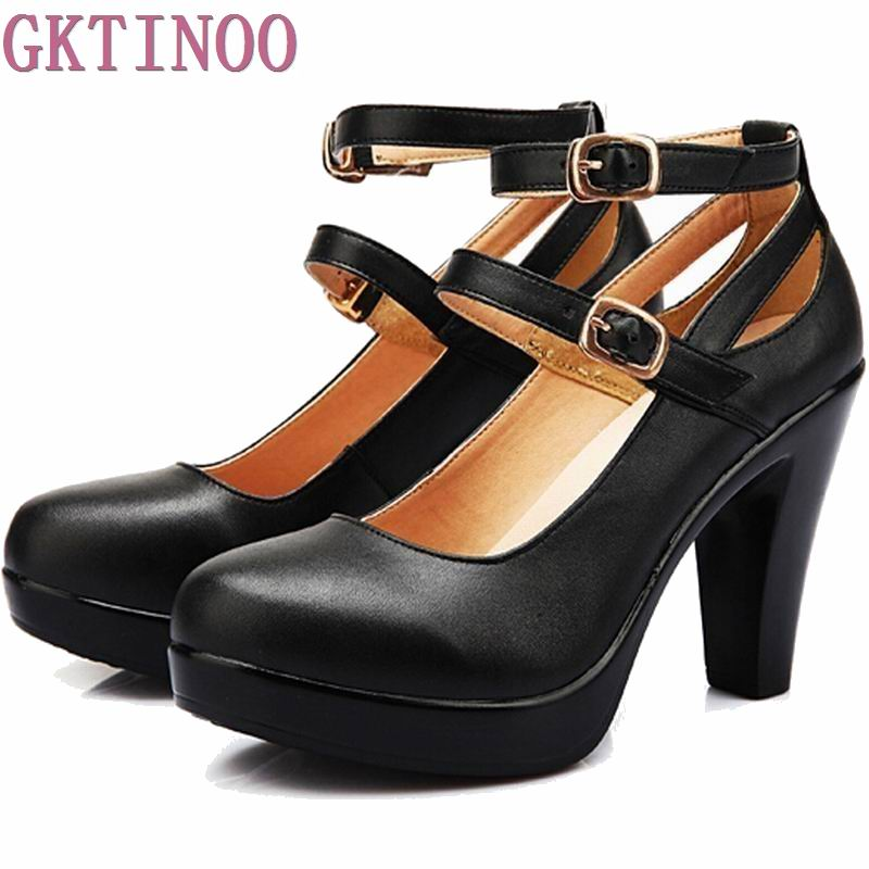 Genuine leather high heels female OL comfortable black women's work shoes Women Pumps plus size 34-42 genuine leather women high heels pumps female ol comfortable black work shoes 32 33 40 41 42 43 44 sy 777