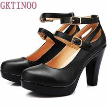 Genuine leather high heels female OL comfortable black women's work shoes Women Pumps plus size 34-42