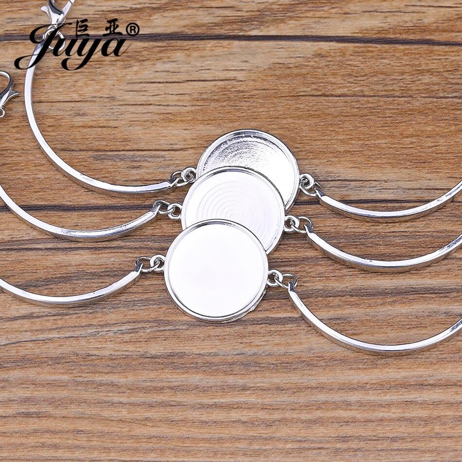 4pcs/lot Cabochon Base Bangle Settings Bracelet Blank Trays For Women DIY Jewelry Making Findings jewellery pulseras Crafts