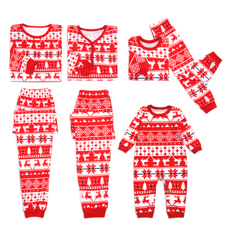 PatPat Autumn And Winter Fun Leisure Holiday Christmas Style Red Snow And Deer Family Christmas Pajamas Set