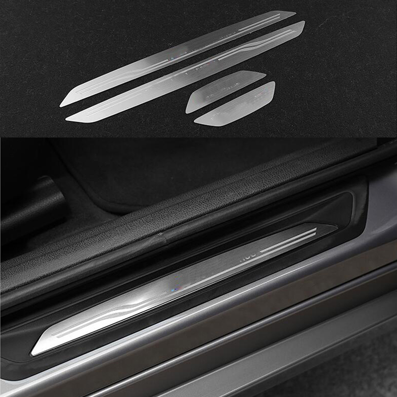 Hearty 4x Steel Door Welcome Sill Scuff Plate Trim Cover For Bmw 3 Series Gt F34 14-17 & 4 Series 4dr F36 2015-2017 Beneficial To The Sperm Interior Mouldings