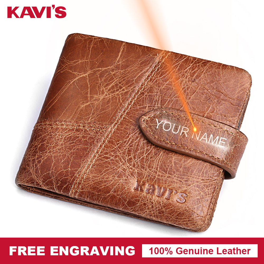 KAVIS grabado libre carpeta del cuero genuino masculino monedero hombres Walet Portomonee cartera tarjeta Perse regalo para hombre nombre