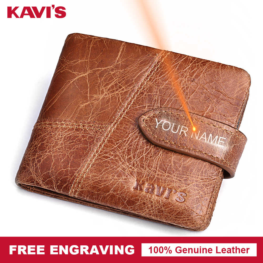 KAVIS Бесплатная гравировка натуральная кожа мужской кошелек Для мужчин портмоне бумажник, кошелек Portomonee отделение для карт, держатель для Perse под именем