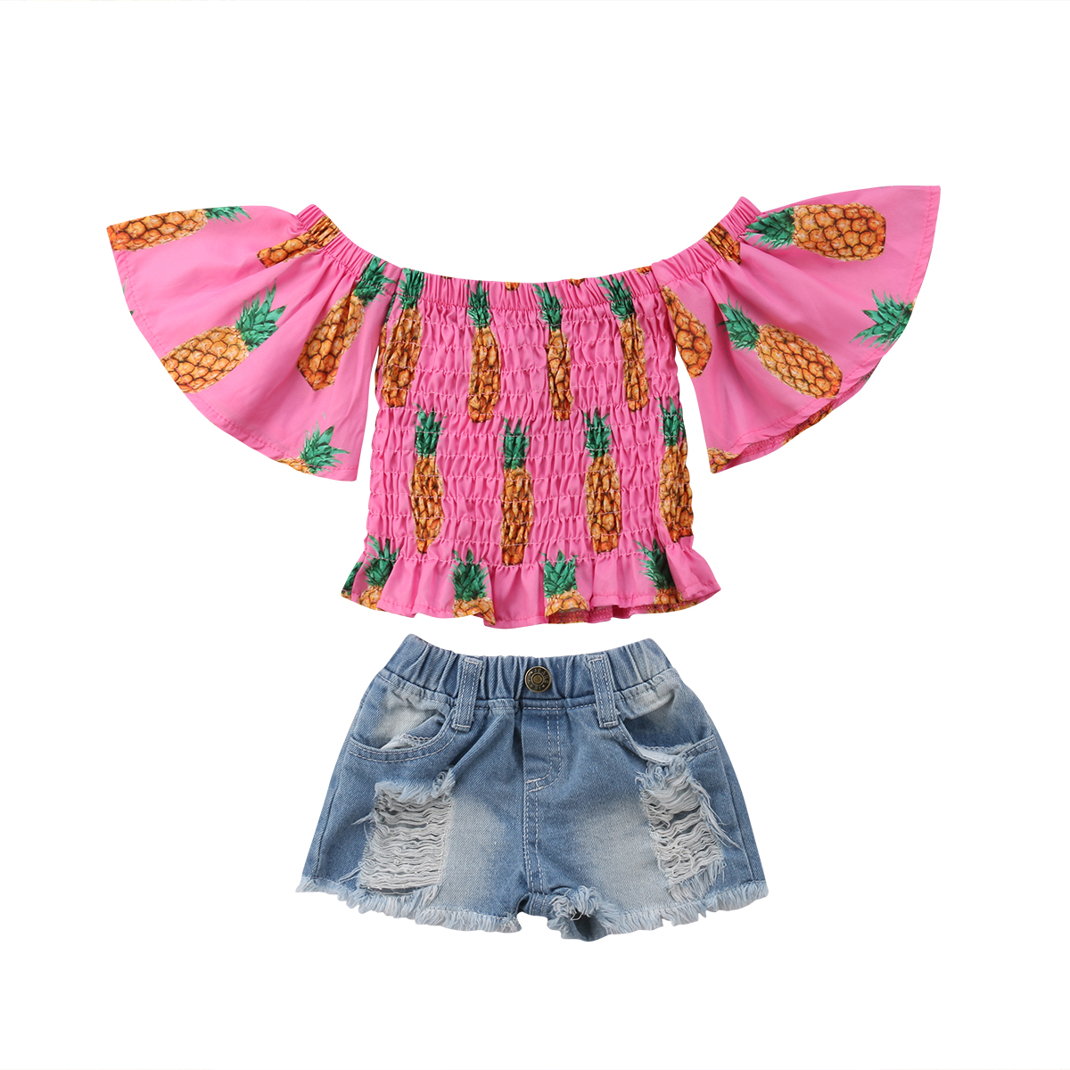 Emmababy 2Pcs Baby Girls Fruit Off Shoulder T-shirt Tops+Denim Hole Shorts Pants Outfits Clothes