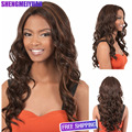 Synthetic black women long wavy wigs african american brown cheap pelucas natural hairline U part asuna Hair Wigs +Free Wig Cap