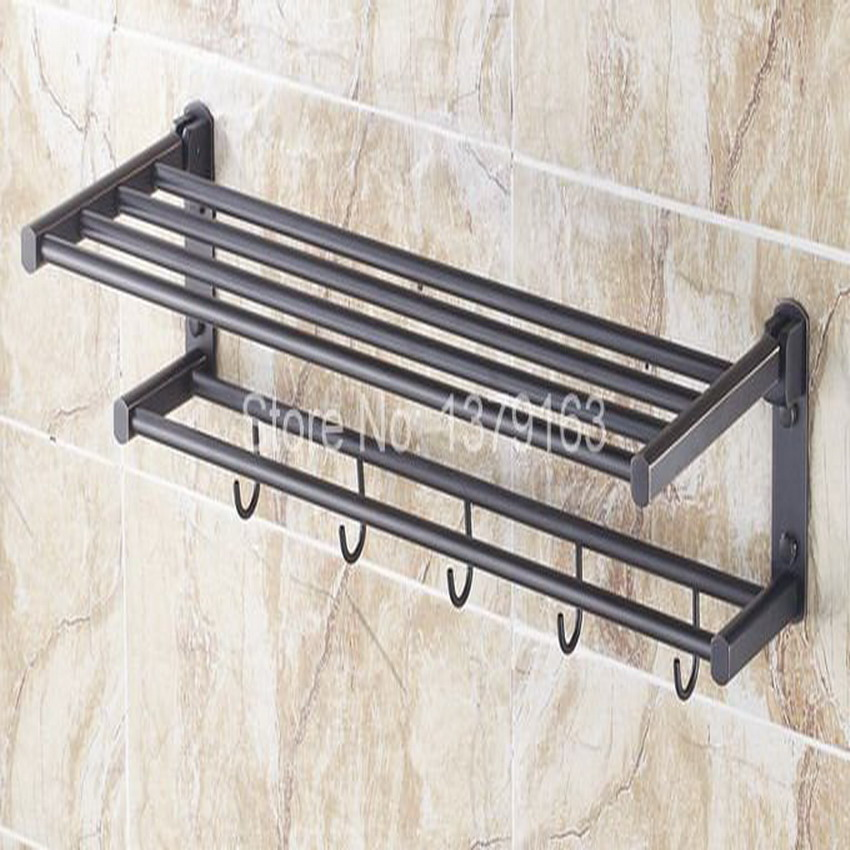 Bathroom Accessory Black Oil Rubbed Brass Wall Mounted Bathroom Towel Rail Holder Storage Rack Shelf Bar w/ Hooks aba321 classic black oil rubbed brass wall mounted bathroom towel rack shelf rails double bar wba120