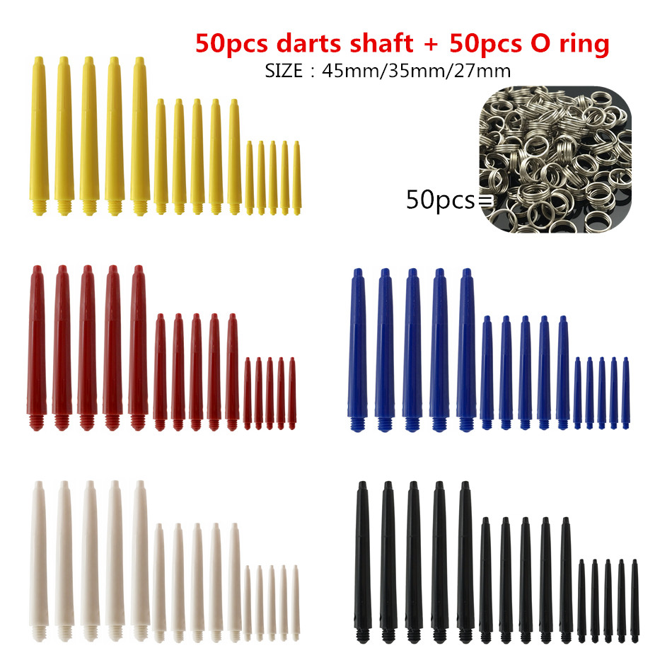 Cavalier 50 Pieces 27mm/35mm /45mm Plastic Dart Shafts;Nylon Shaft Darts ;5 Colors Black Blue Red Yellow White Darts Accessories
