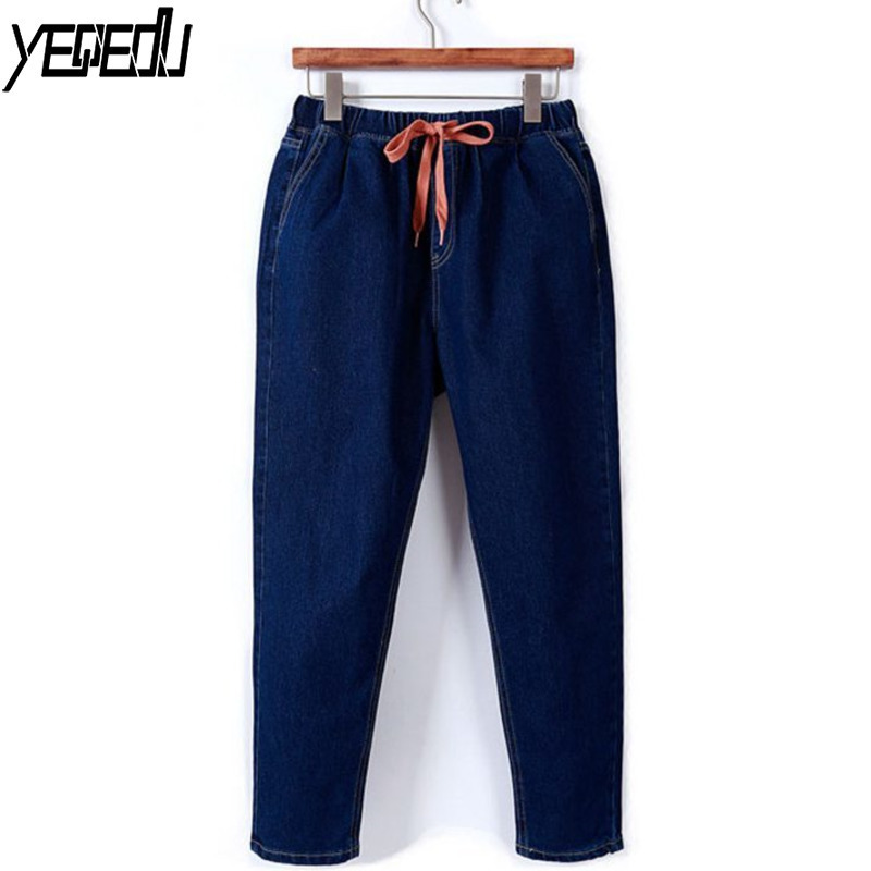 #2003 Winter Warm Big Size Velvet   Jeans   Women XL-5XL Harem Elastic High Waisted   Jeans   Loose Boyfriend   Jeans   Feminino Blue Black