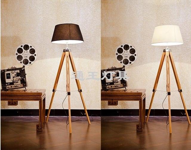 Lampada Vintage Da Terra : Nautica treppiede retro moda teak lampada da terra in legno vintage