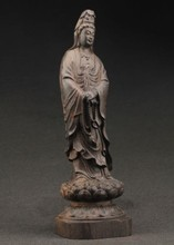 TNUKK  Elaborate Chinese decorative manual old ebony wood kuan Yin statue.