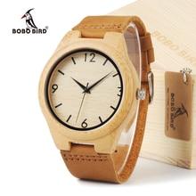 """BOBO Ama """"de PÁJARO de La Moda Diseñador de la Marca de Relojes De Madera De Bambú Japonés 2035 Movimiento de Cuarzo Analógico Relojes Con Bandas De Cuero"""