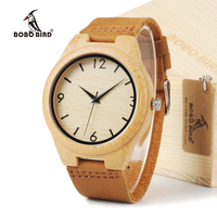 BOBOBIRD BBM027 Loves Brand Designer Bamboo Wooden Watches 2035 Movement Quartz Watches With Leather Bands