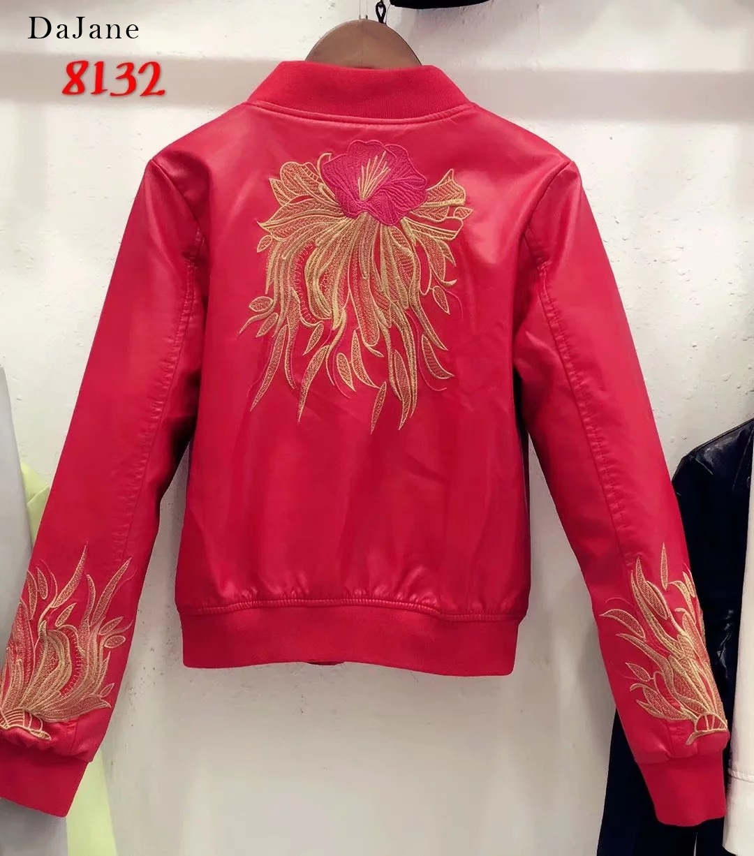 Autumn New women's Flower Embroidery Stand Collar long-sleeved PU   Leather   Jacket Jacket   Leather   Jacket Women