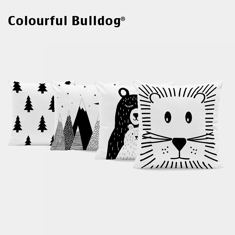 Custom Black And White Cushion Cover Cartoon Animals Kid Throw Pillow Hand Painted Lion Home Decor Geometric Mountain Kussenhoes