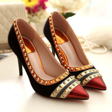 New Design Thin High Heels Pointed Toe Rivets Style Sexy Women Pumps Red Bottom Wedding Party Shoes For Women Size 35-41 ZM2.5