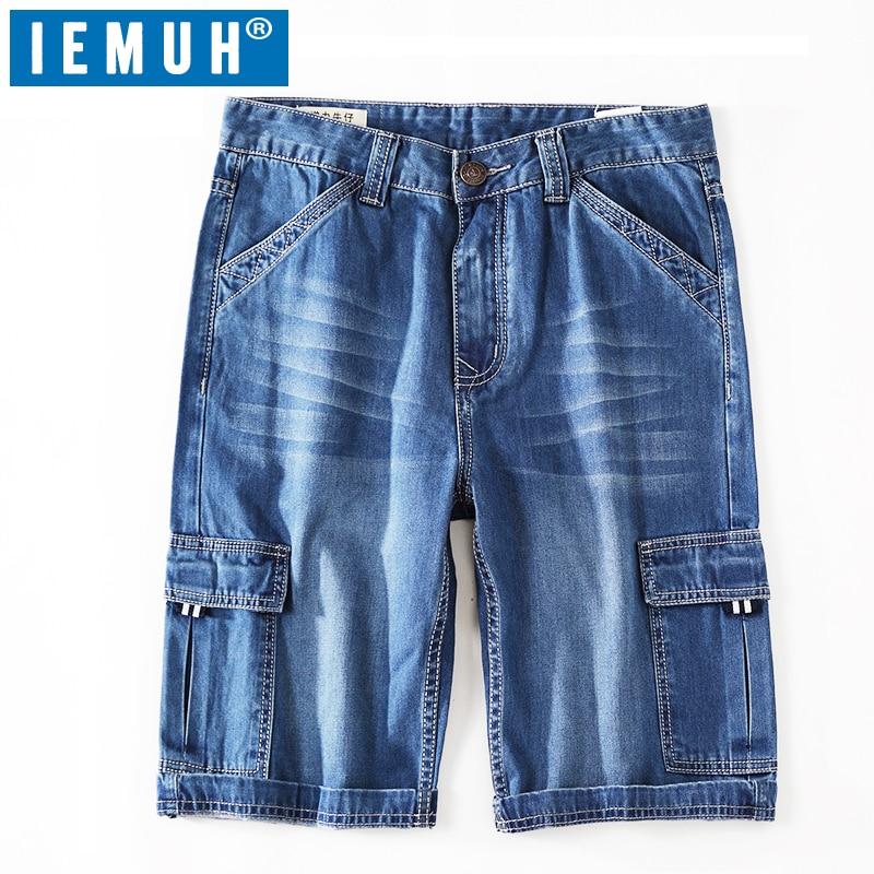IEMUH Summer Mens Short Jeans Men's Fashion Shorts Men Blue Denim Jeans Short for Men Jean Shorts Pants Big Plus Size 28-42 цены онлайн