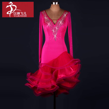 Women Ballroom tango dresses V-neck long sleeve dance clothes latin dance dress girl ballroom dance competition dresses
