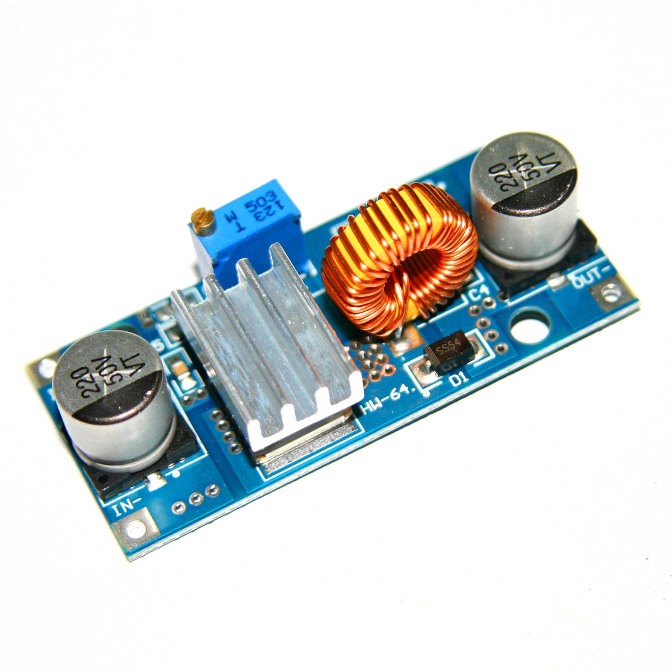 XL4015 E1 DC 4-38V to 1.25-36V Step Down Adjustable Power Supply Module 5A LED Lithium Charger With Heat Sink
