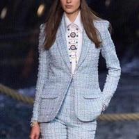 Brand Runway 2019 Spring Autumn New Light Blue Tweed Blazers Women Shawl Collar Fashion Plaid Weave Coats Y103