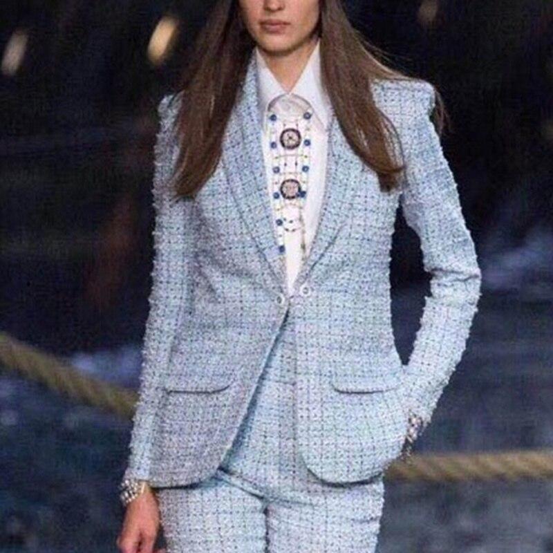 Kadın Giyim'ten Blazerler'de Marka Pist 2019 Ilkbahar Sonbahar Yeni Açık Mavi Tüvit Blazers Kadın Şal Yaka Moda Ekose Örgü Mont Y103'da  Grup 1