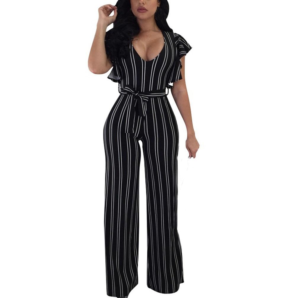 Jumpsuit Summer Women 2018 New Brand Short Sleeve Bodysuits Sexy Clubwear Wide Legs Pants Elegant Jumpsuit combinai F#J05 (2)