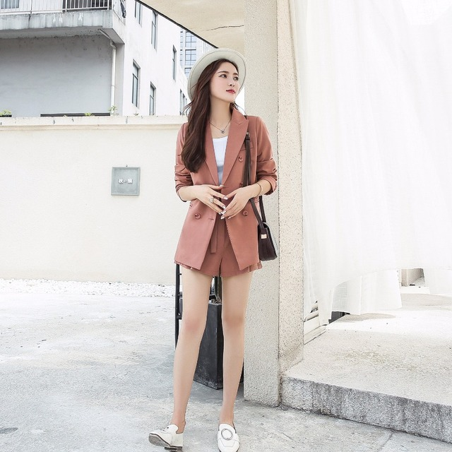2018 automne nouveauté femmes pantalons costumes Blazer hauts et Shorts col rabattu mode élégance manches complètes Hots S88846L