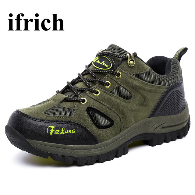 Ifrich Outdoor Walking Hiking Shoes Men Big Size Mountain Sneakers Breathable Climbing Boots Army Green Shoes Trekking Men