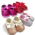 Мода девочка обувь Горячей продажи девочка сначала ходунки Bling девочка обувь для 0-12 месяцев ребенок Золото/розовый/Серебро/ярко-розовый цвета