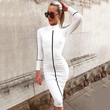 Autumn Winter Women Long Sleeve Bodycon Party Club Dress Casual Round Neck Cotton Office