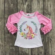 Fall/winter baby girls children clothes boutique cotton top t-shirt raglans icing sleeve floral flower pink unicorn print half