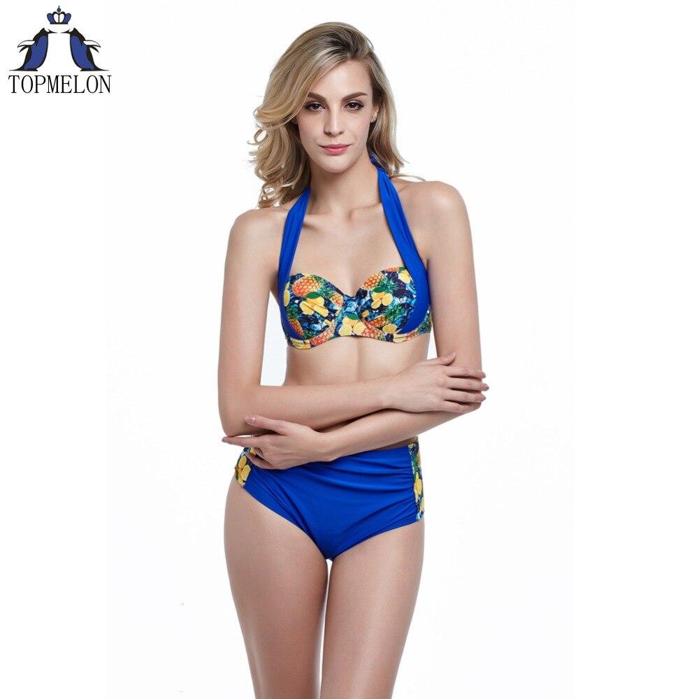High Waist Push Up Plus Size Bikini Set Swimwear
