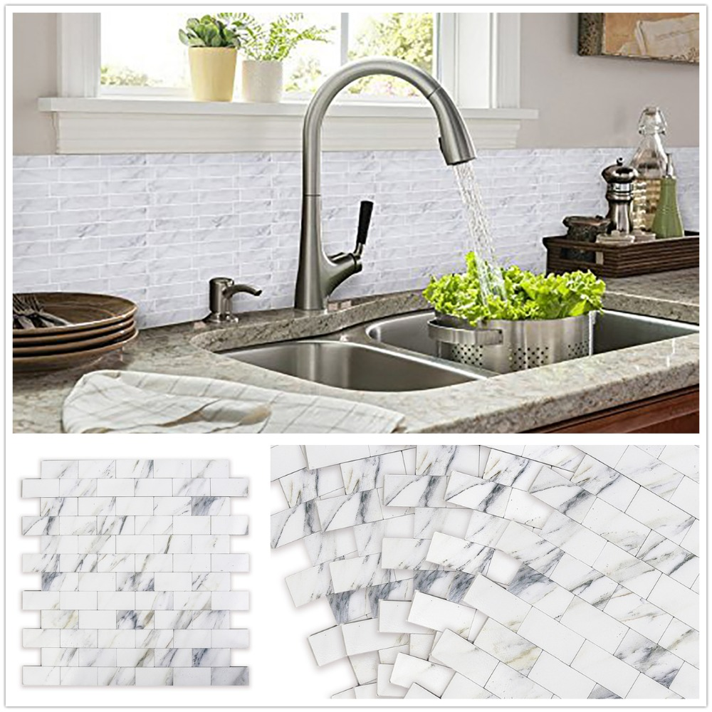 HomeyStyle 4 PCS Subway Peel and Stick Marble Wall Stickers for Living Room Backsplash 3D Self Adhesive Wall Panel For Kitchen
