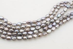 Perlas de agua dulce barrocas 7-9mm gris FPPJ 14 pulgadas al por mayor cuentas naturales perlas sueltas para joyería DIY