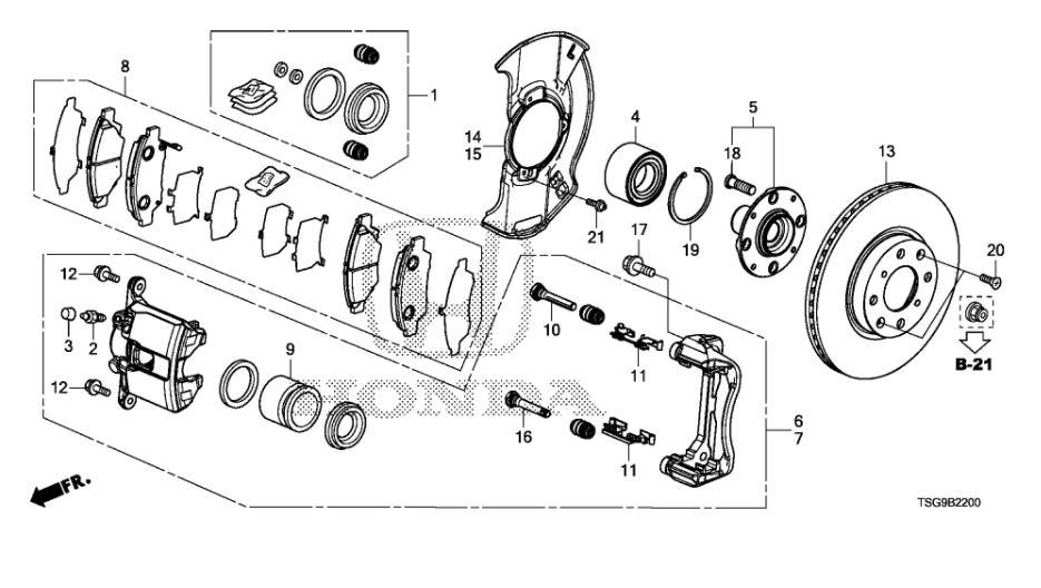 (4 pièces/ensemble) jeu de plaquettes de frein avant/arrière KIT-FR frein à disque RR pour HONDA CR-Z de ville chinoise JAZZ FIT Auto voiture moteur partie 45022T5GH00 - 6