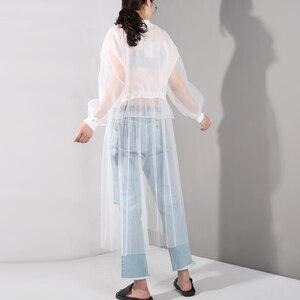 Image 5 - [EAM] 2020 nowa wiosna jesień stanąć kołnierz z długim rękawem biała siatka sznurek duży rozmiar wiatrówka kobiety wykop mody JU1880